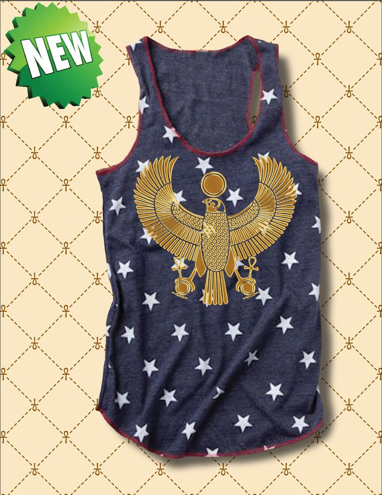 Image of WOMENS GOLD HRU & STARS PRINT TANK TOP