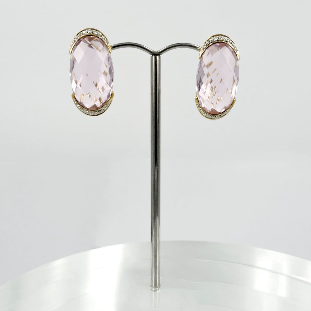 Image of 14ct Yellow Gold Pink Amethyst Drop Earrings