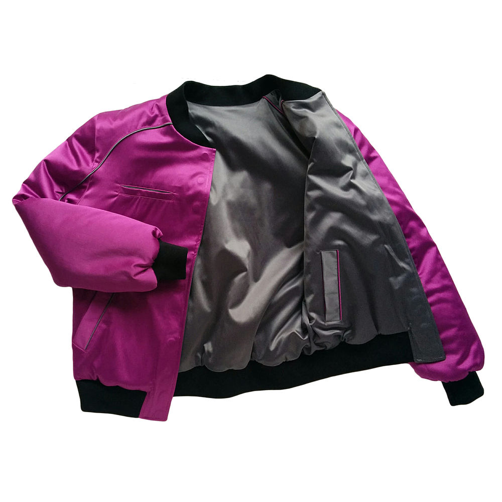 "Image of Mañana ""Warrior"" Bomber Jacket Charcoal-Violet"