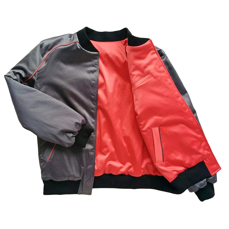 """Image of Mañana """"Warrior"""" Bomber Jacket Charcoal-Coral"""