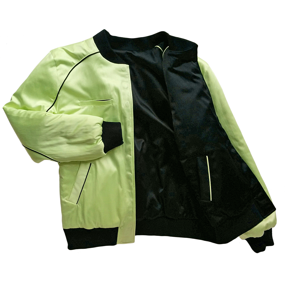 "Image of Mañana ""Warrior"" Bomber Jacket Black-Lime"