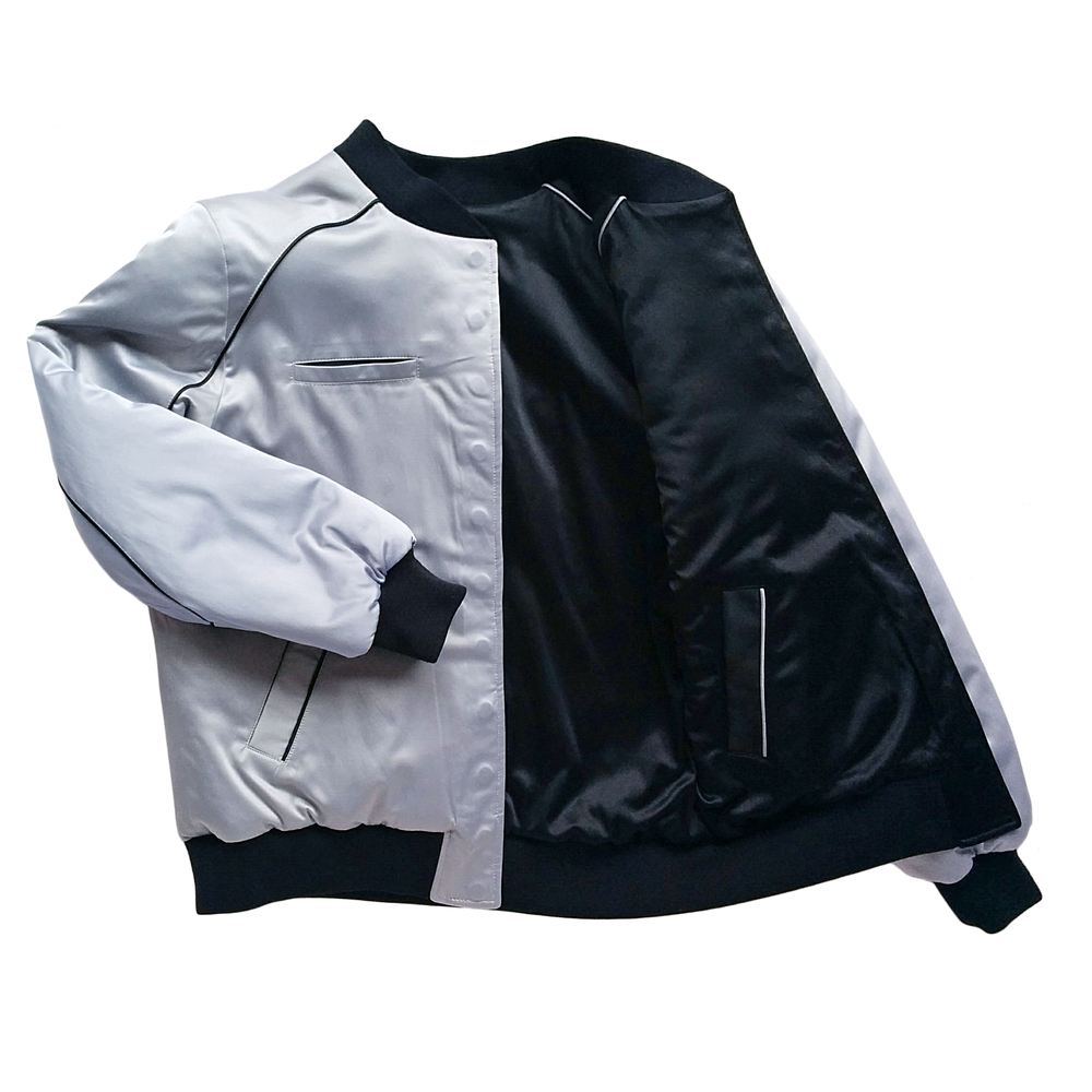 "Image of Mañana ""Warrior"" Bomber Jacket Black-Silver"