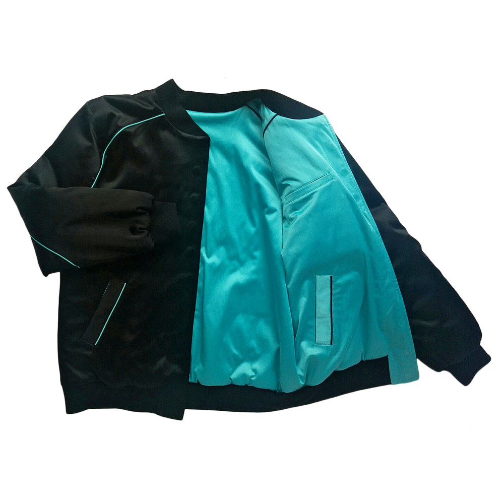 "Image of Mañana ""Warrior"" Bomber Jacket Black-Turqouise"