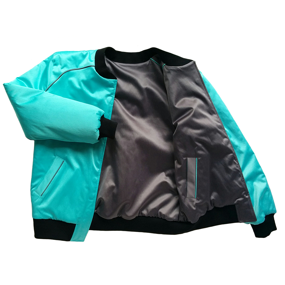 "Image of Mañana ""Warrior"" Bomber Jacket Turqouise-Charcoal"
