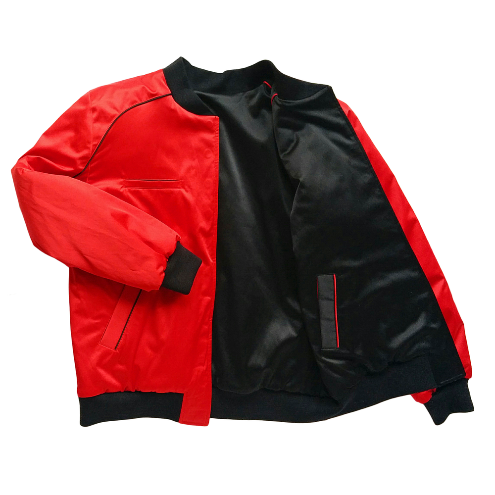 "Image of Mañana ""Warrior"" Bomber Jacket Black-Red"