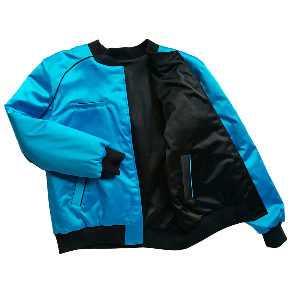 "Image of Mañana ""Warrior"" Bomber Jacket Blue-Black"