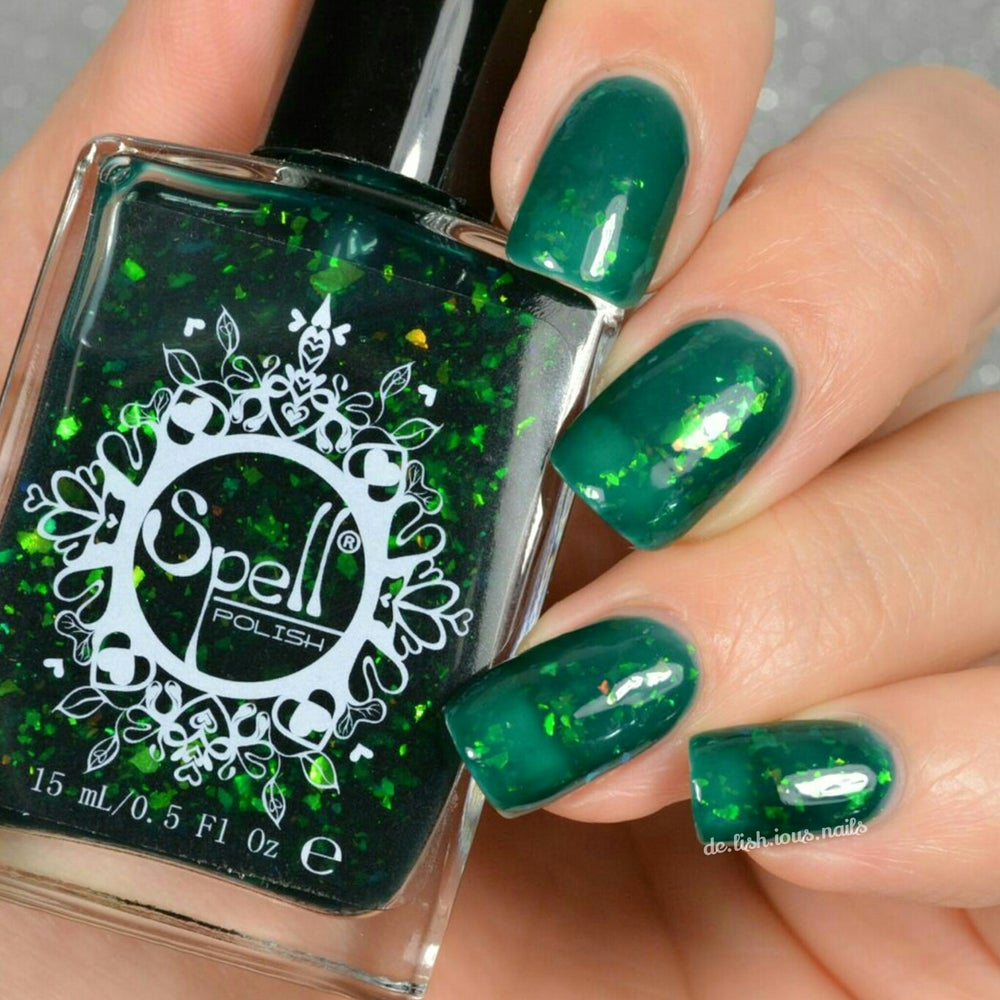 "Image of ~Through the Keyhole~ jade green jelly w/iridescent flakies Spell nail polish ""Dollhouse Mischief""!"