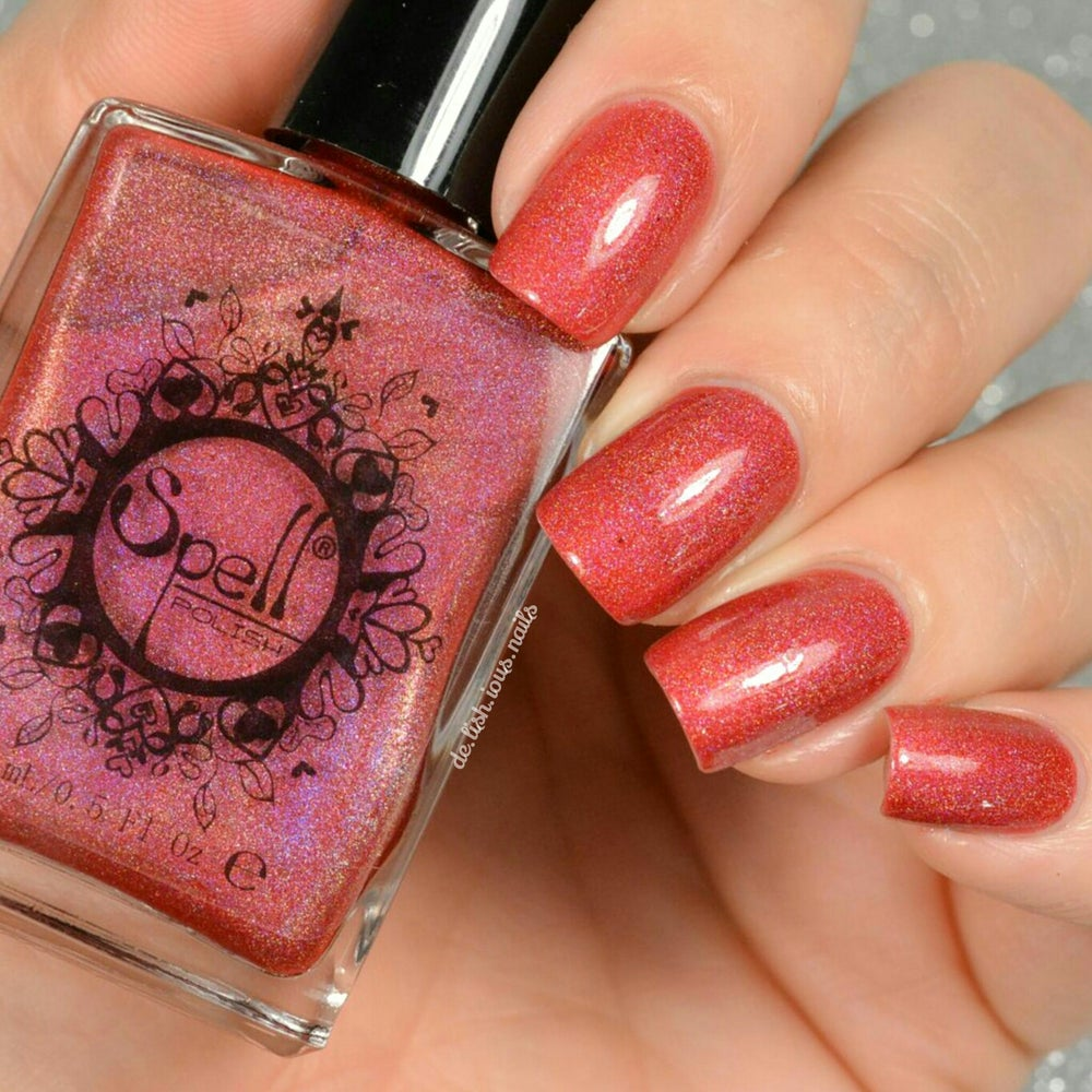 """Image of ~Widow's Walk~ red/pink holo Spell nail polish """"Dollhouse Mischief""""!"""