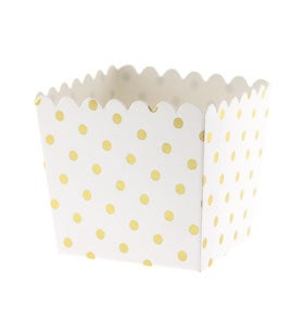 Image of {White & Gold} Dot Scallop Favour Box