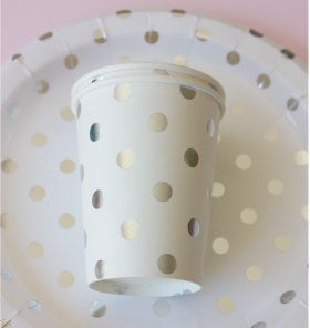 Image of {White & Silver} Polka Dot Cups