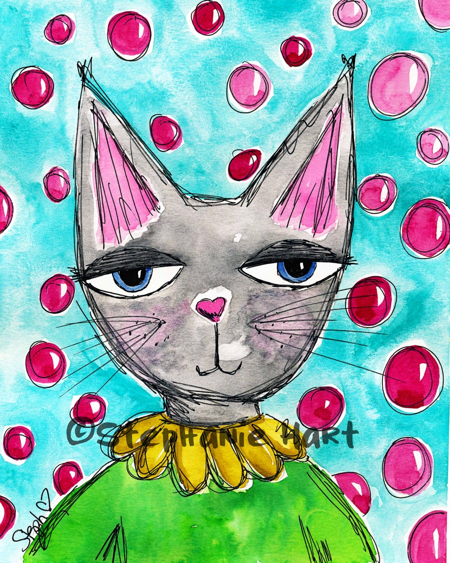 Image of Pretty Kitty Watercolor