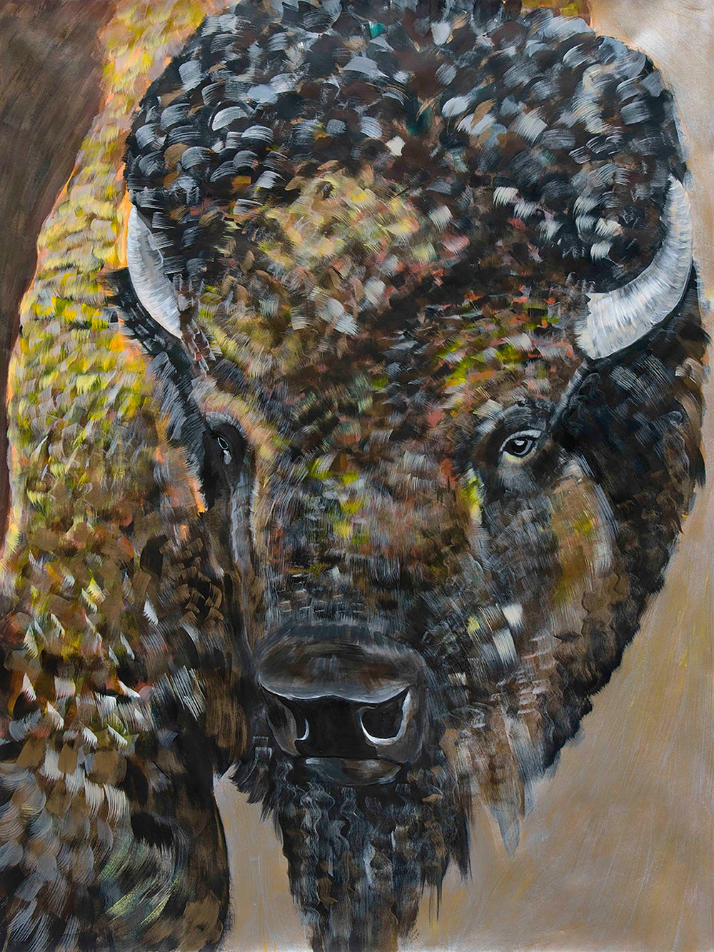 Image of Fine Art Giclee print reproduction of original Bison/Buffalo painting by Natalie Wright