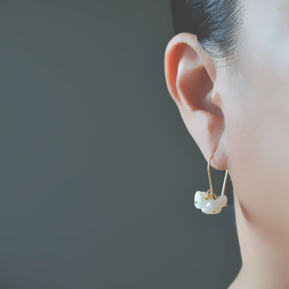 Image of White cultured freshwater pearl cluster dangle earrings