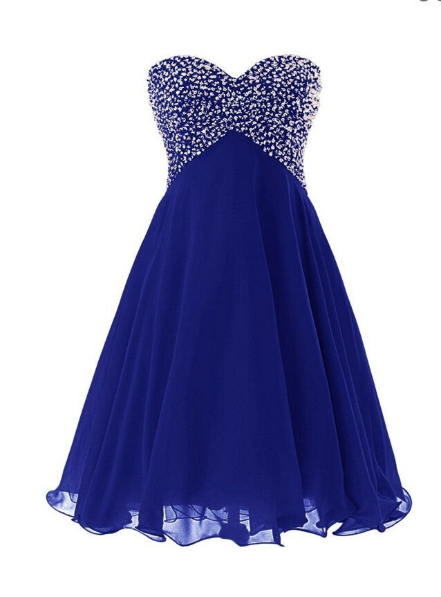 Cute Handmade Short Blue Prom Dress with Sequins, Party Dresses, Homecoming Dresses