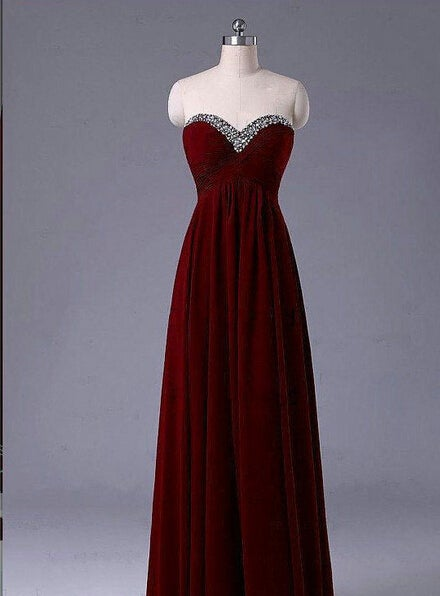 86773d19386 Image of Beautiful Simple Burgundy Long Prom Dress with Beadings