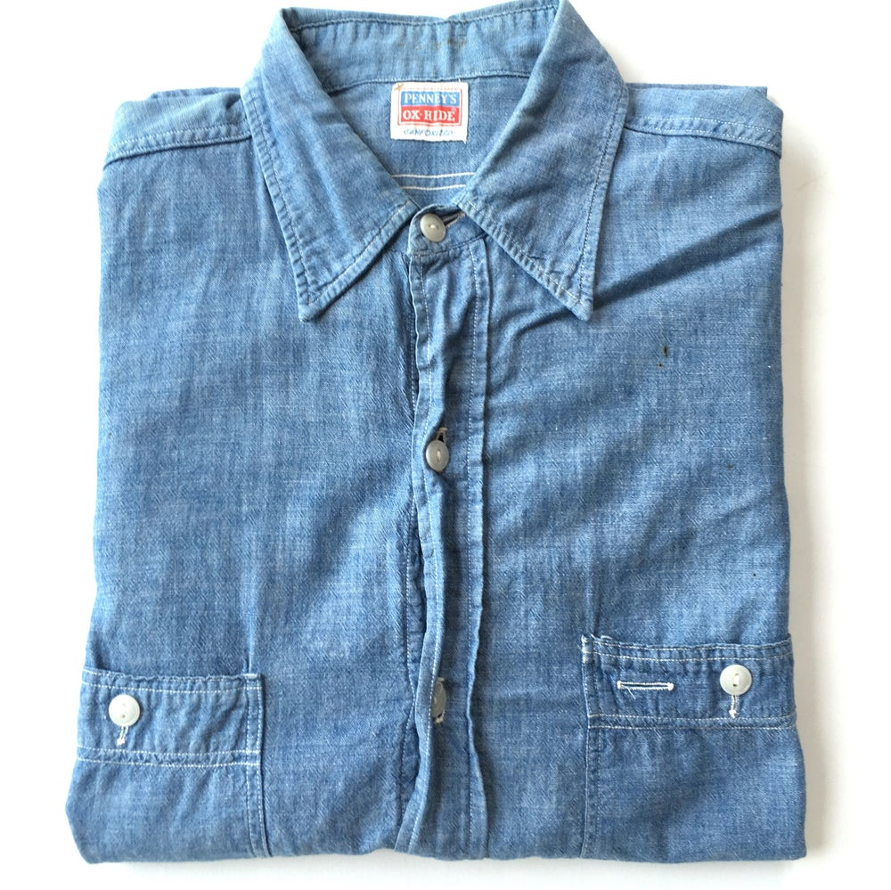 Image of Penney's OX-Hide Sanforized Chambray shirt