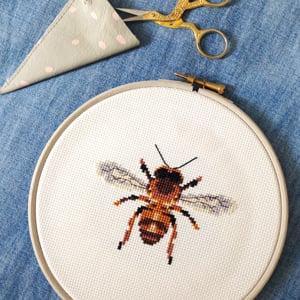 Image of Amber Bee cross-stitch PDF pattern