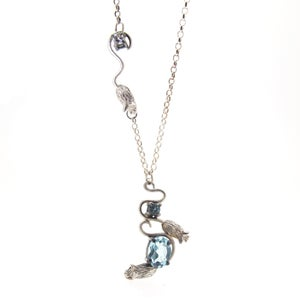 Image of {NEW} White & Blue Topaz Mouse Necklace
