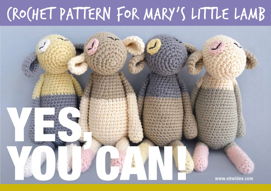 "Image of Crochet Pattern for ""Mary's Little Lamb"" / Häkelanleitung für ""Unschuldslämmer"""