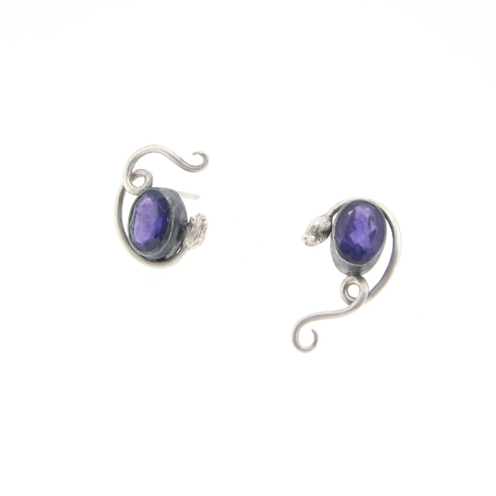 Image of {NEW} Asymmetric Amethyst Mouse earrings