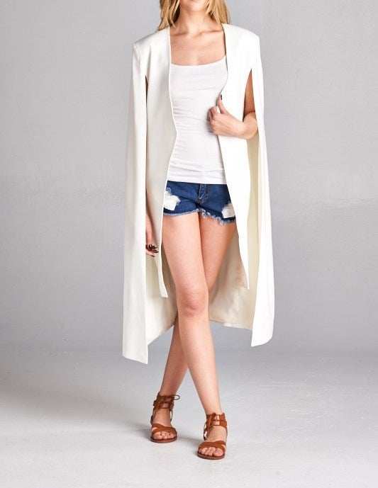 Image of Ivory Long Cape Blazer