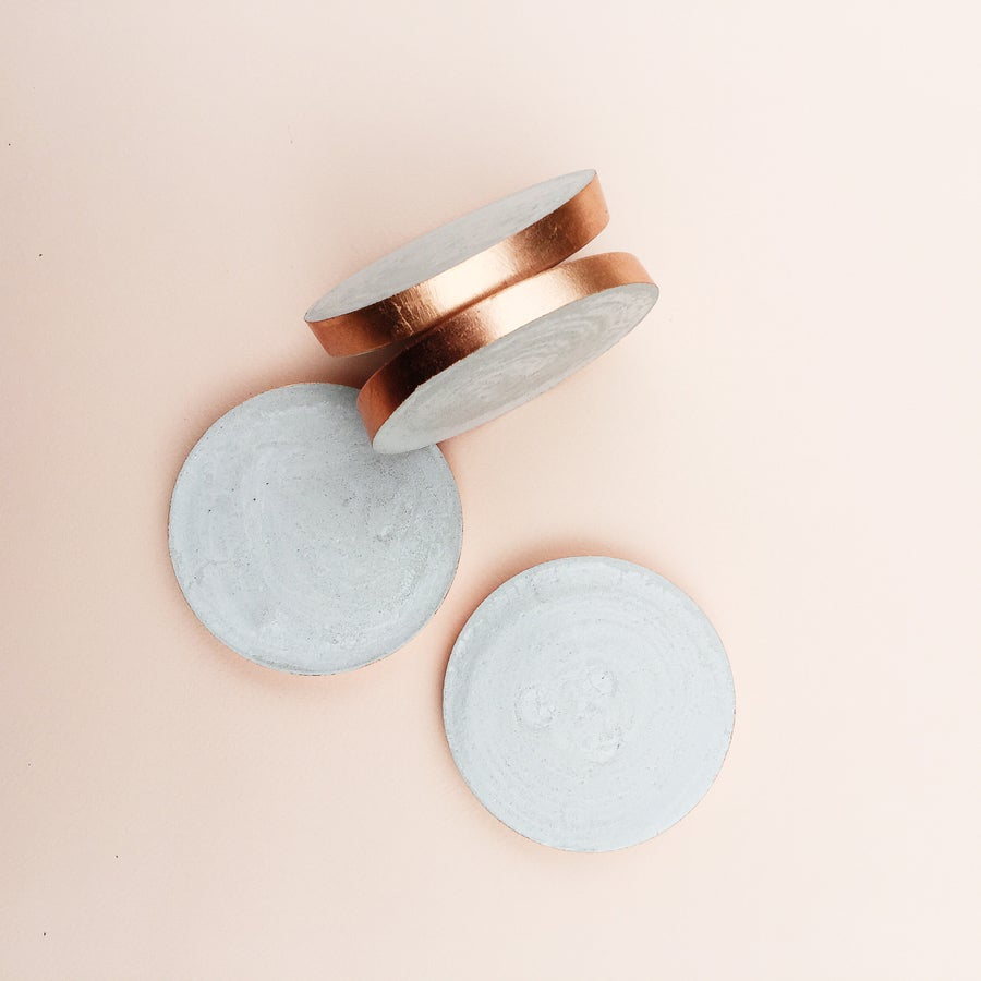 Image of Concrete Coasters | Raw + Rose Gold (set of 4)