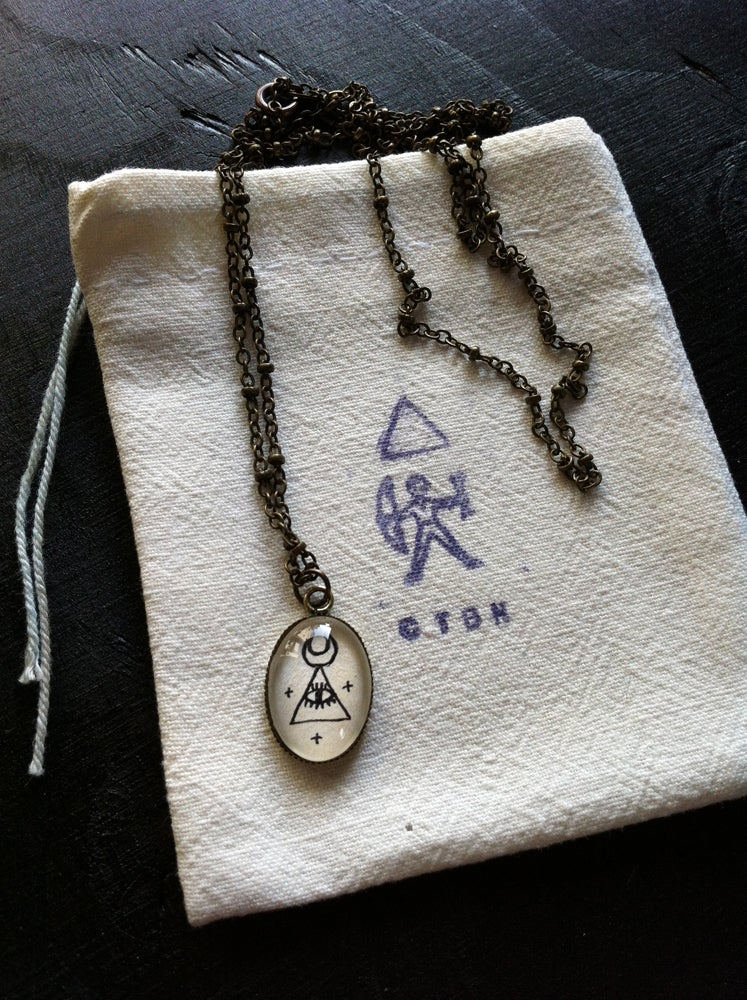 Image of All Seeing Crescent Triangle pendant necklace