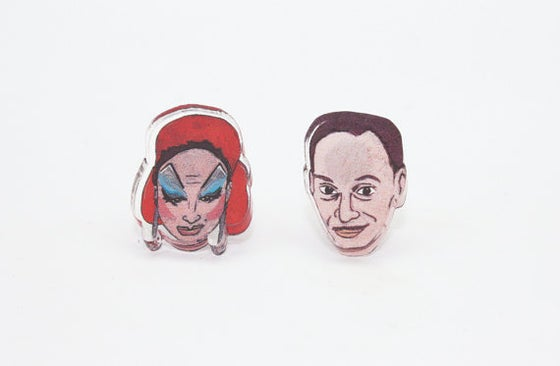 Image of John Waters / Divine stud earrings