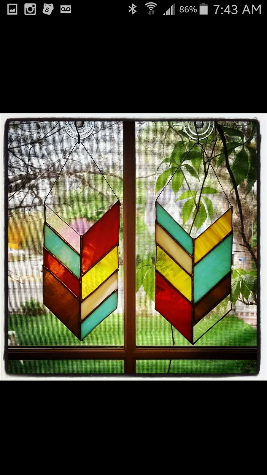 Image of Chevron Panel - stained glass