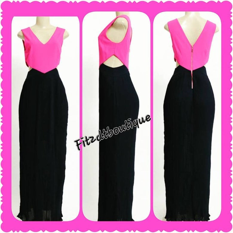 Image of Pink and Blue Empire Maxi