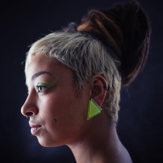 Image of Náušnice / Earrings Tria Mirror fluorescentní