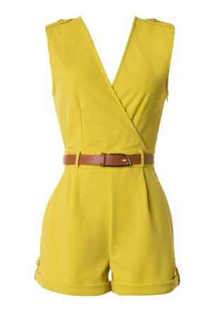 Image of Lime Button Front Romper
