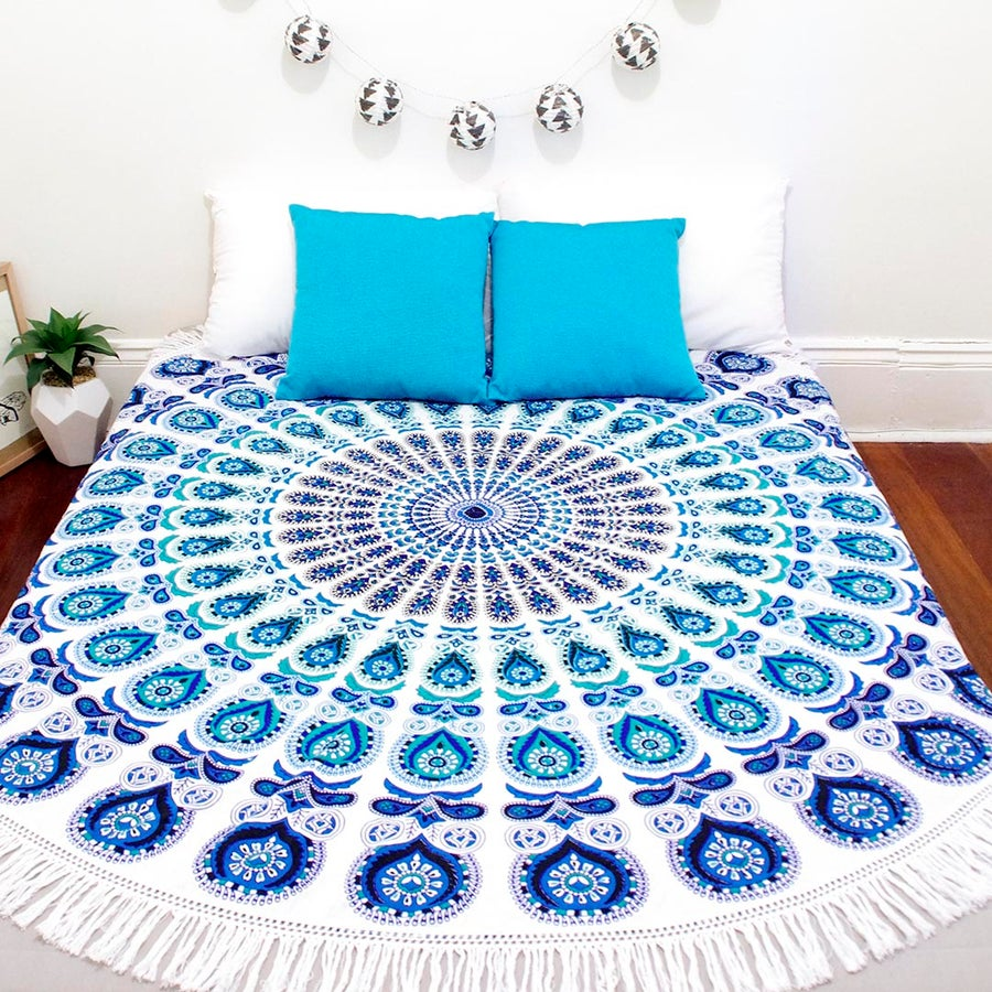 Image of Blue and Teal Mandala Roundie