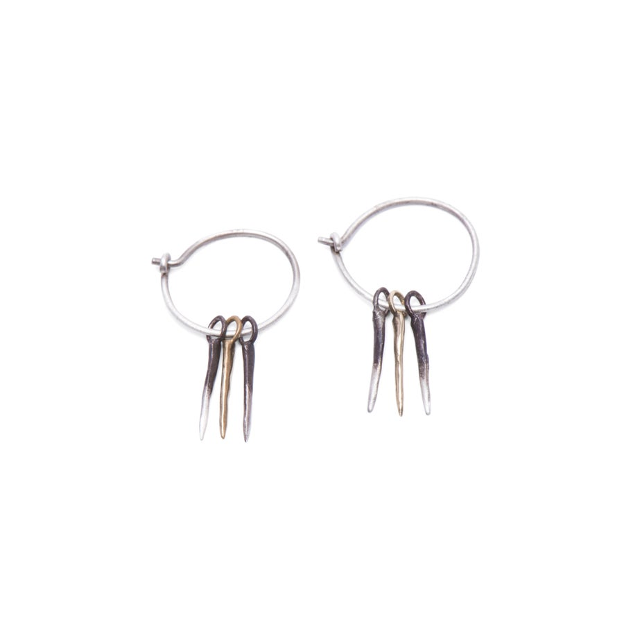 Image of silver & 10k gold 3 snake-spike hoops (E28SIL10kB)