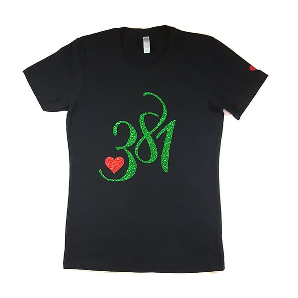 Image of 381 Logo Tee Black|Green Ice