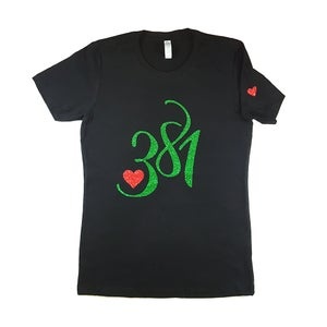 Image of 381 Logo Tee Black|Green Glitter