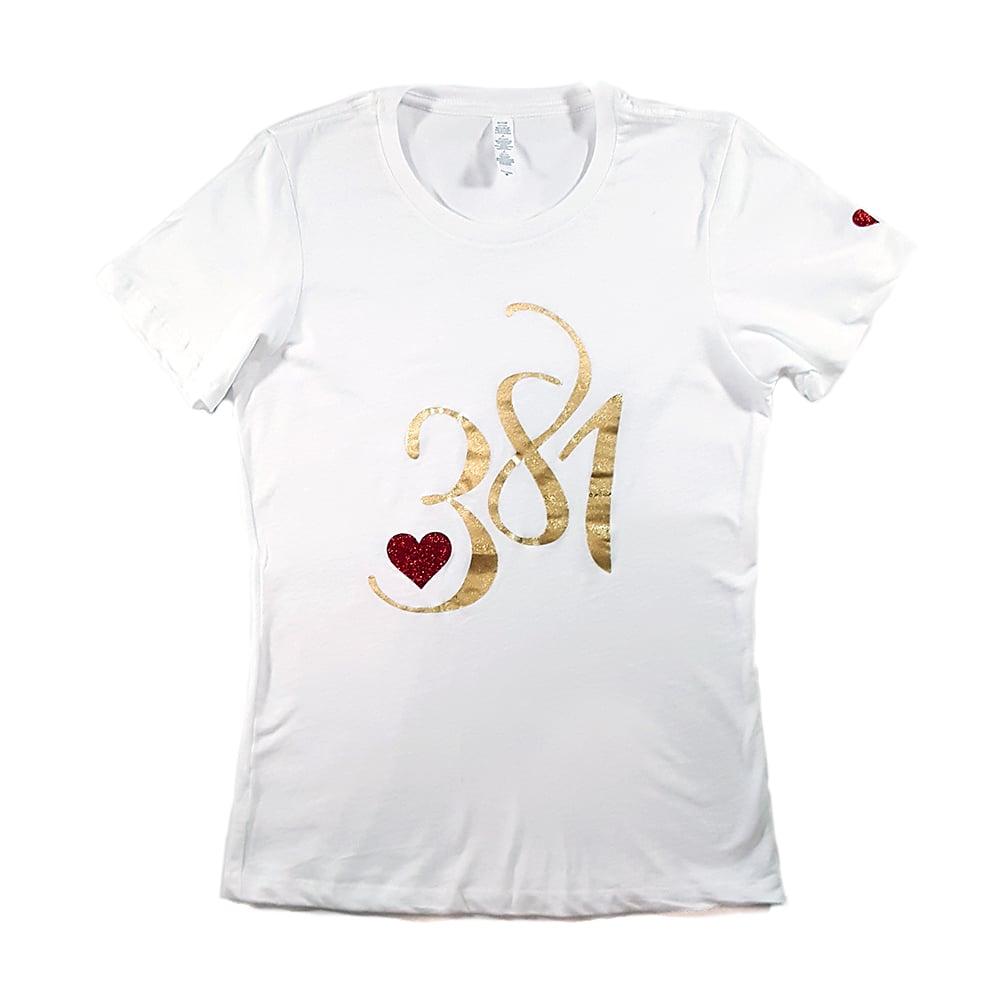 Image of 381 Logo Female Tee White|Gold Ice