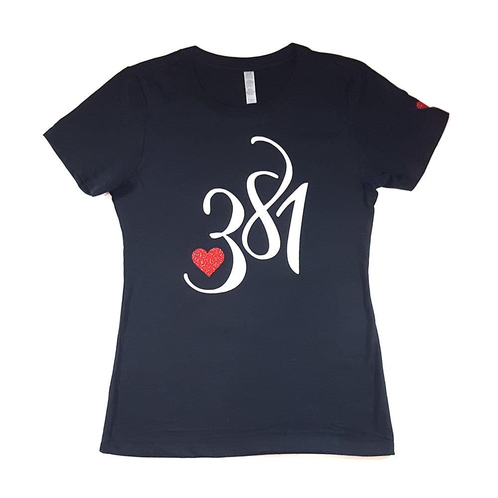 Image of 381 Logo Female Navy Tee|White Ice