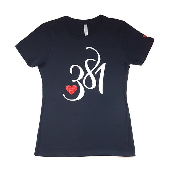 Image of 381 Logo Female Navy Tee|White Ice