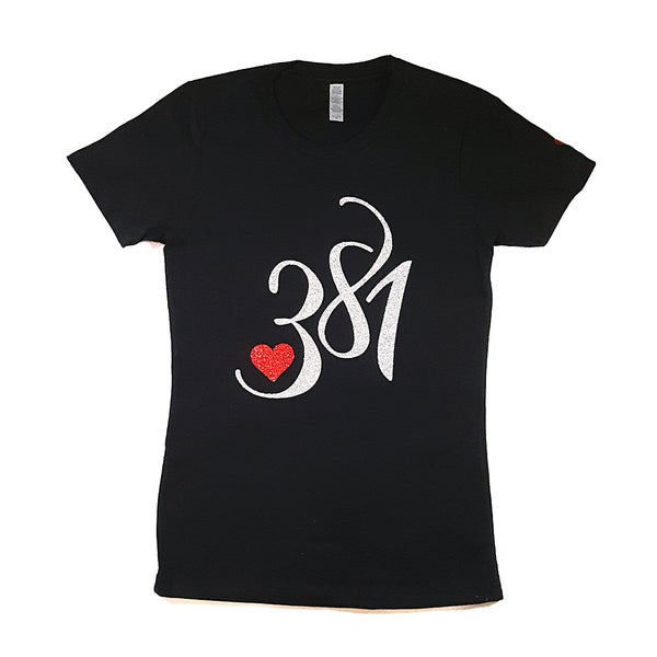 Image of 381 Logo Tee Black|White Ice