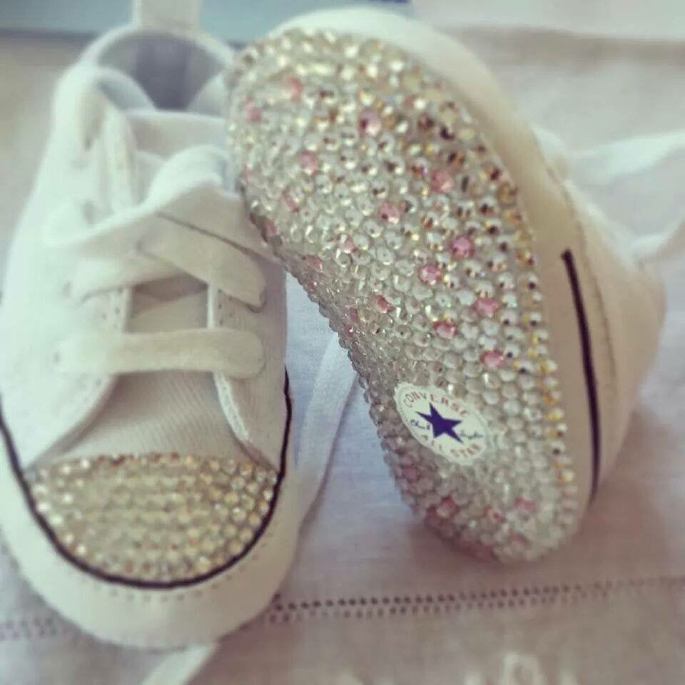Image of Crystalized baby converse shoes