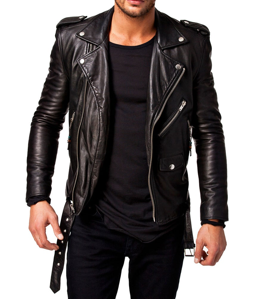 Image of Men Leather Jacket Black New Slim fit Biker genuine lambskin jacket