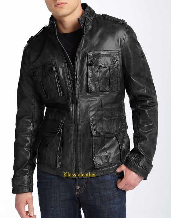 Image of New Vintage Military Style Lambskin Leather Motorcycle Jacket For MEN