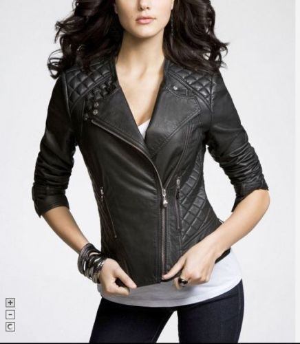 Image of New Women Leather Jacket New Motorcycle Biker Womens Leather Jacket
