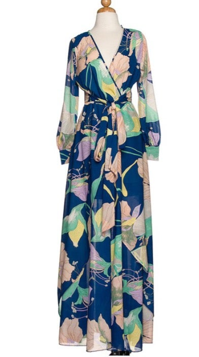 Image of Blue Floral Print Maxi