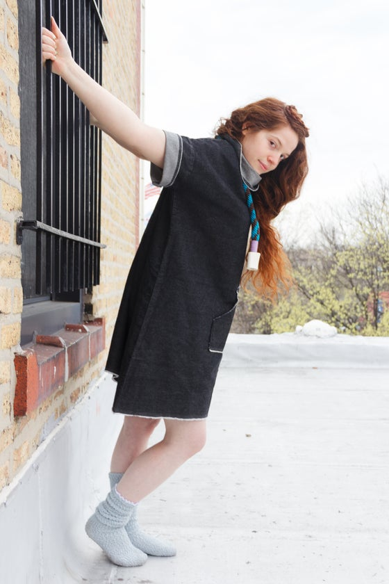 Image of DENIM BOX TEE COWL DRESS AND POCKET