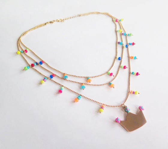Image of Le Queen Triple Multicolor Necklace