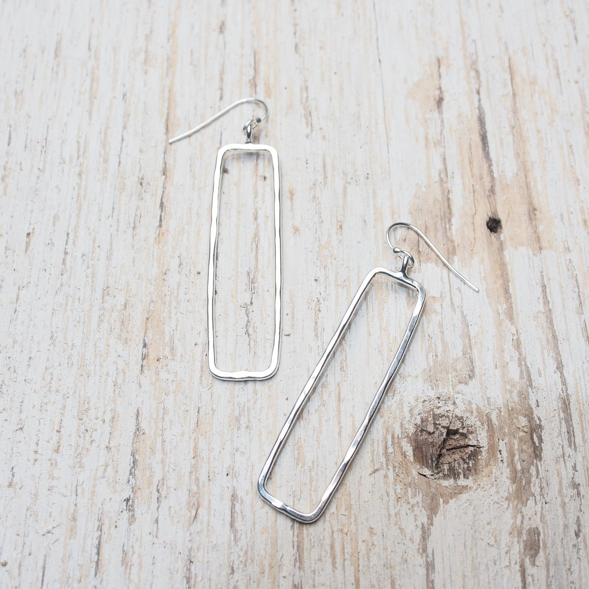 Image of thin rectangle outline earrings