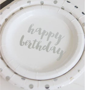 Image Of Foil Happy Birthday Cake Plates
