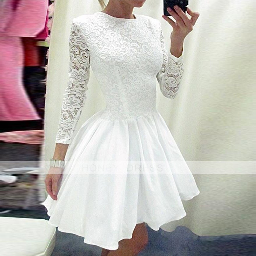 Image of White Lace Long Sleeves A-line Cocktail Dress With Round Neckline